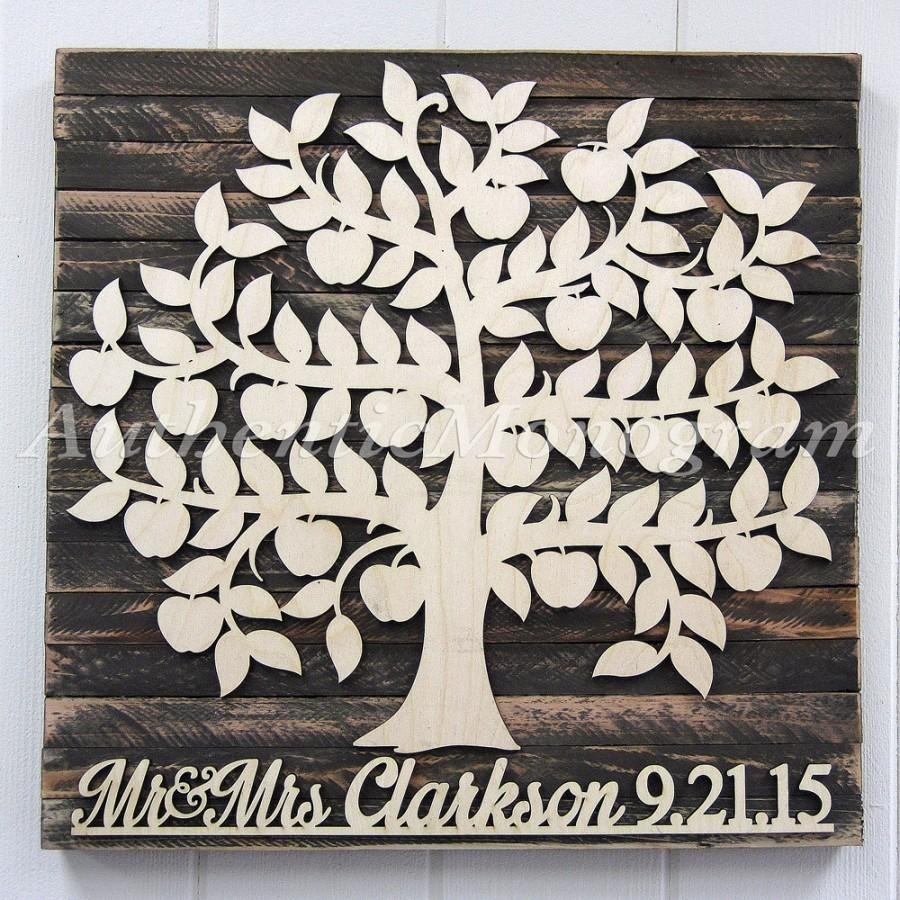 Personalized Wedding Guest Book Wooden Sign For 200 Guest – Bridal With Recent Personalized Wood Wall Art (View 17 of 20)