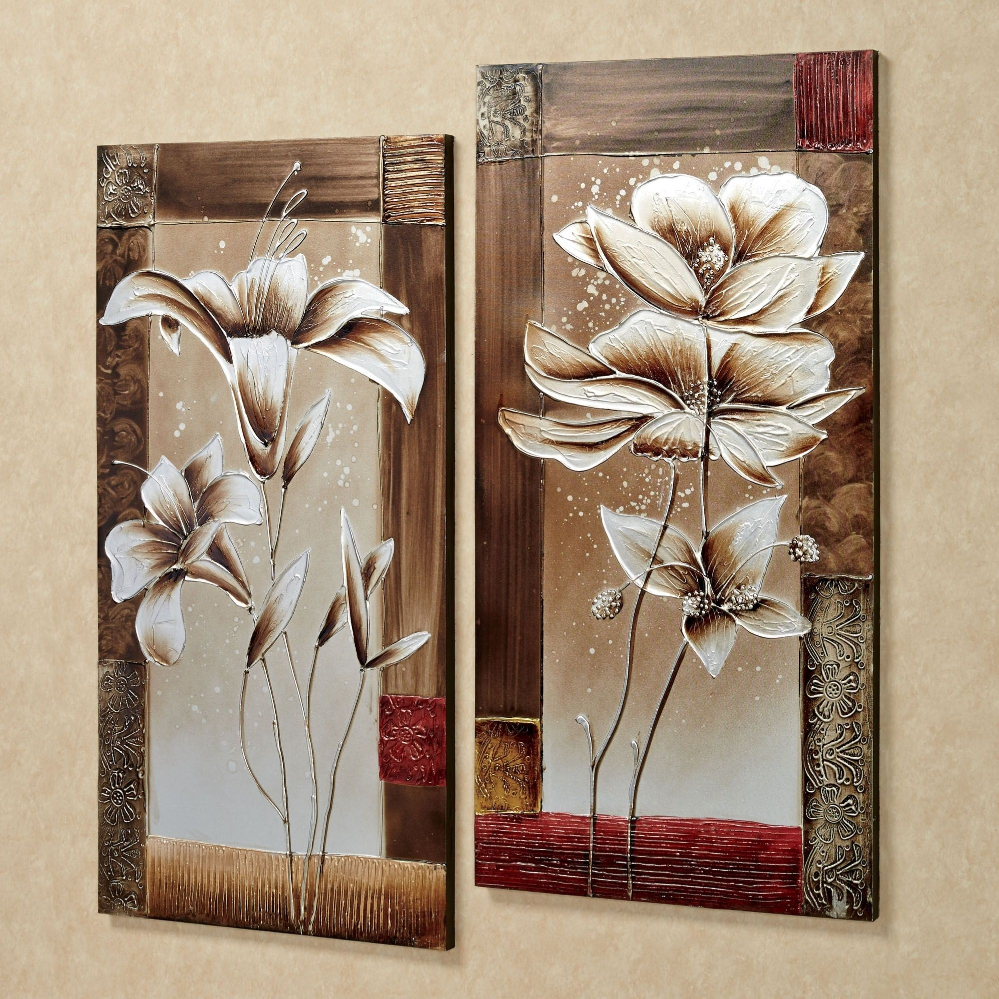 Petals Of Spring Floral Canvas Wall Art Set For Most Recent Floral Canvas Wall Art (View 15 of 20)