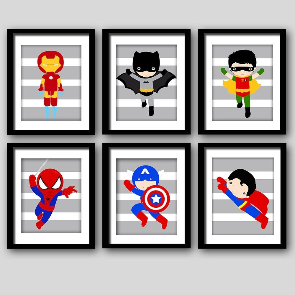 Pick 6, Superhero Wall Prints, Super Hero Wall Art Boys Room Art Or In Most Up To Date Superhero Wall Art (View 14 of 20)