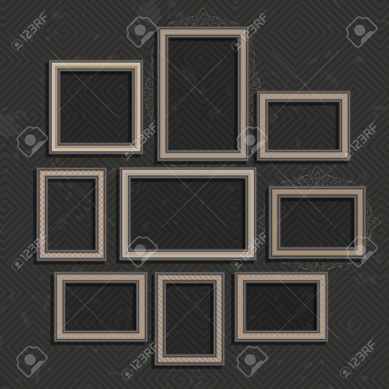 Picture Frame Vector.photo Art Gallery On Vintage Wall (View 9 of 15)