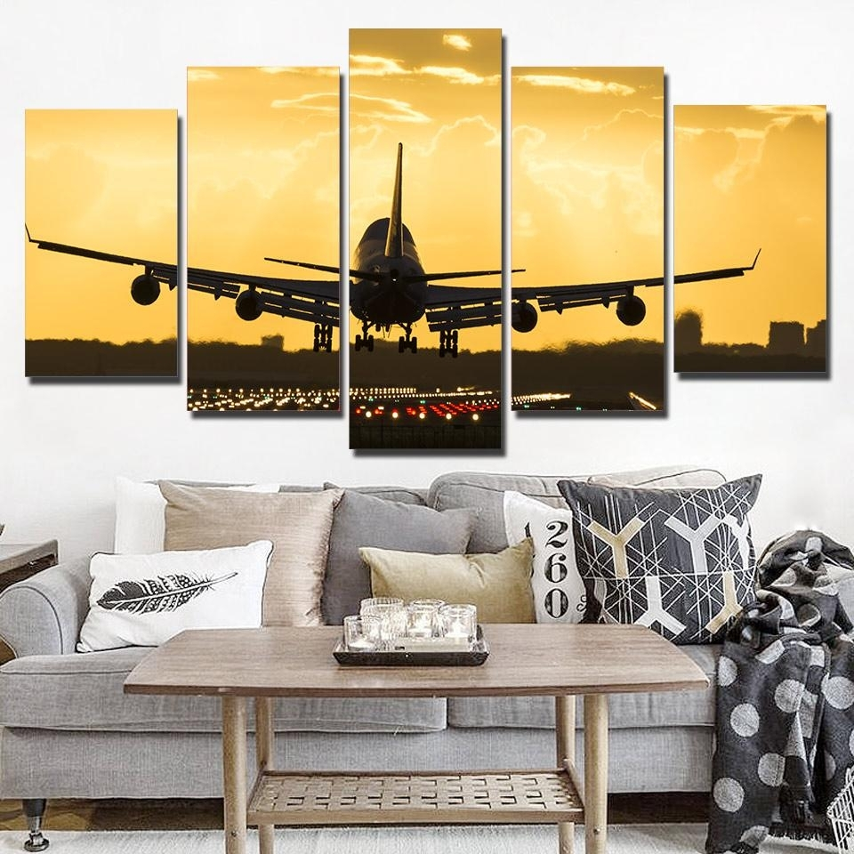 Piece Golden Cool Airplane Wall Art – Wall Decoration And Wall Art Ideas Within 2018 Airplane Wall Art (View 16 of 20)