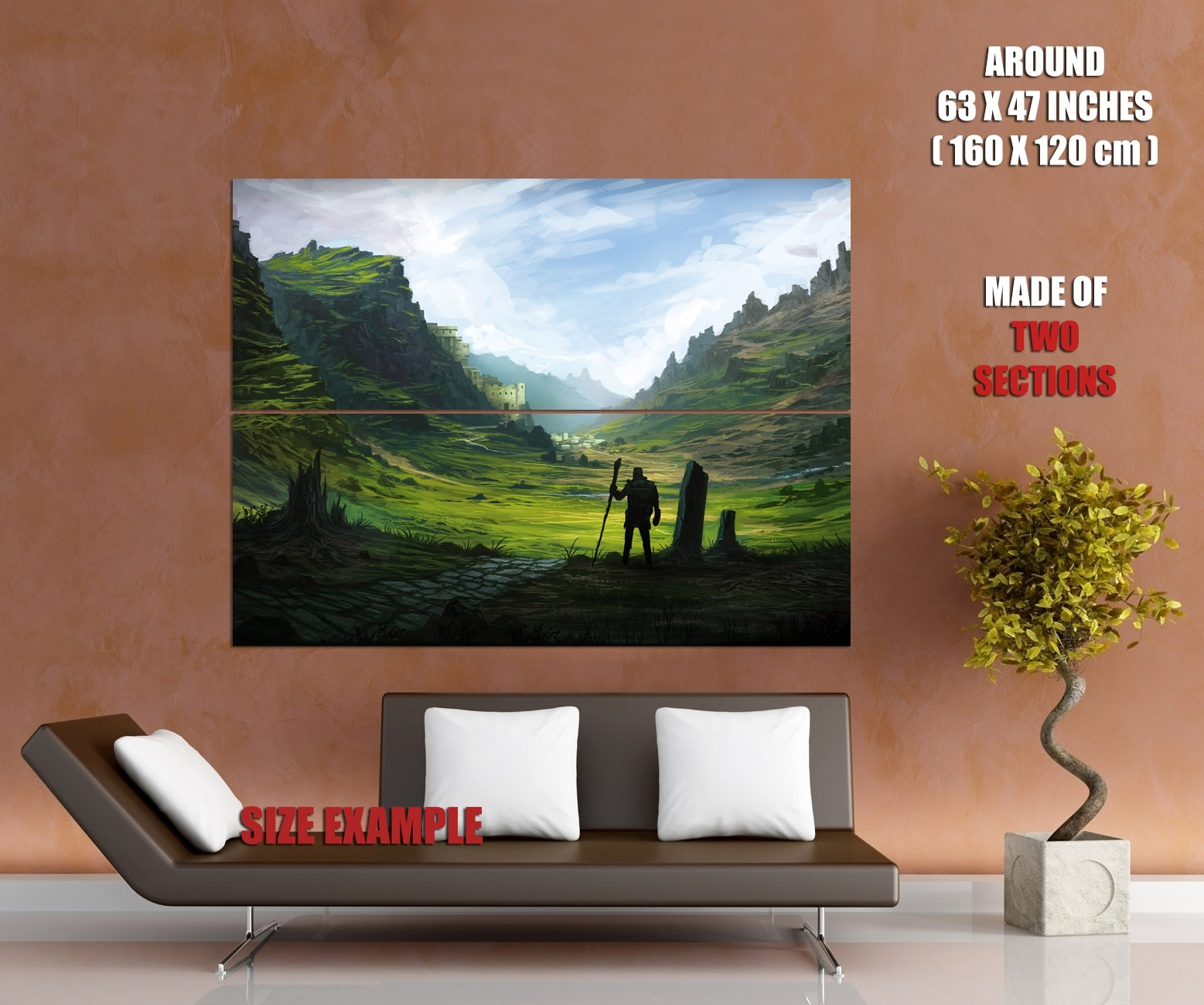 Pilgrim Traveler Epic Fantasy Painting Landscape Art Giant Wall Throughout Most Recently Released Giant Wall Art (View 8 of 20)