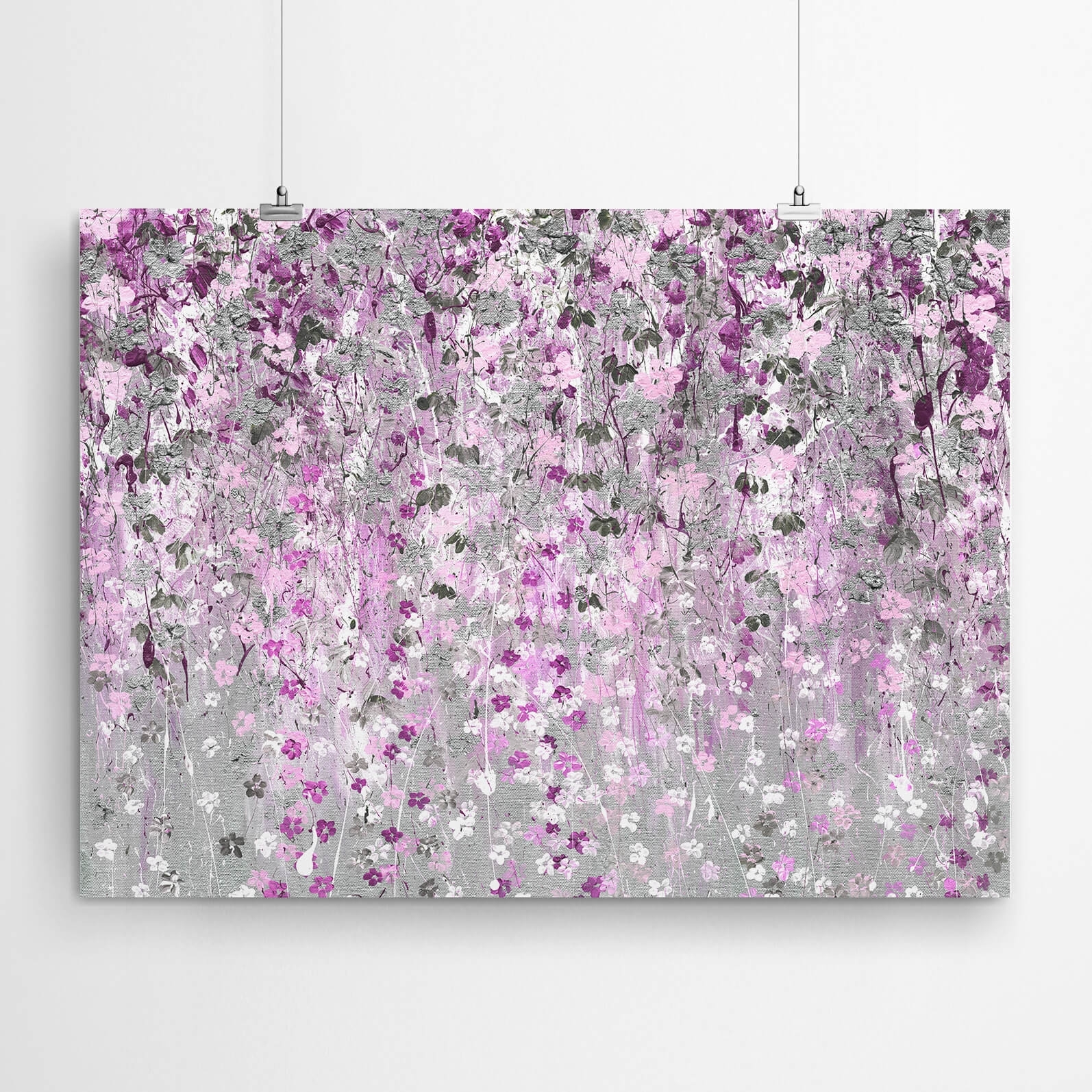 Pink And Silver Floral Painting | Artworld Art World Pertaining To Latest Pink Wall Art (View 9 of 20)