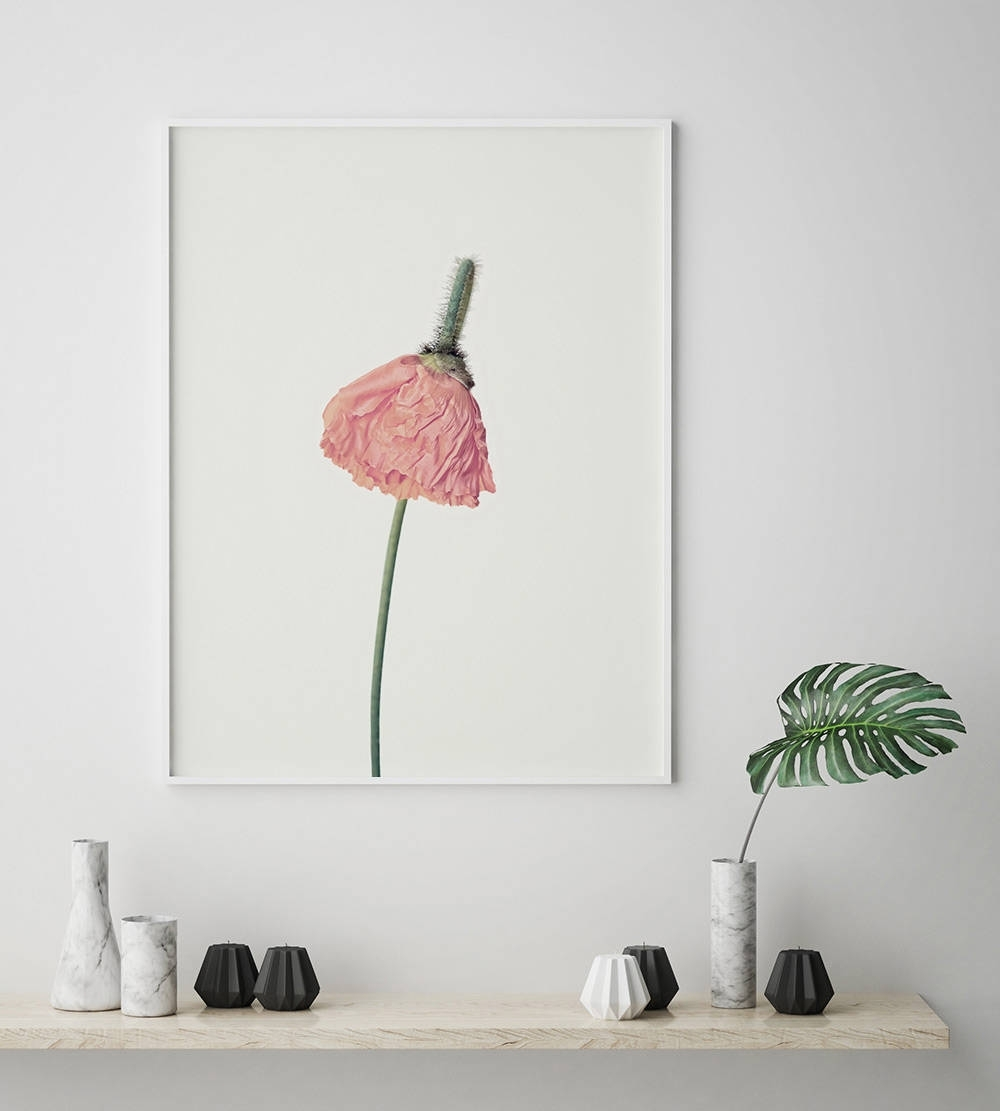 Pink Flower Print, Flower Wall Art, Scandinavian Print, Minimalist In Most Up To Date Flower Wall Art (View 17 of 20)