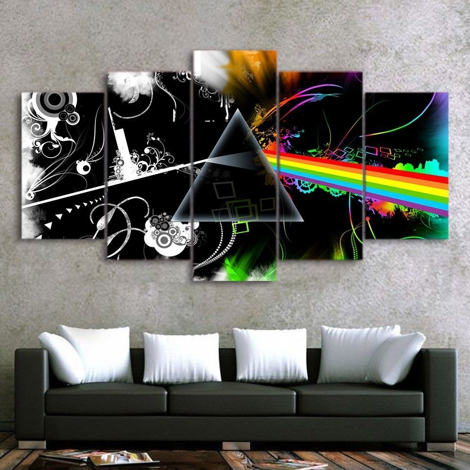 Pink Floyd Music Band Canvas Hd Wall Decor 5pc Framed Oil Painting For 2017 Pink Floyd The Wall Art (View 14 of 20)