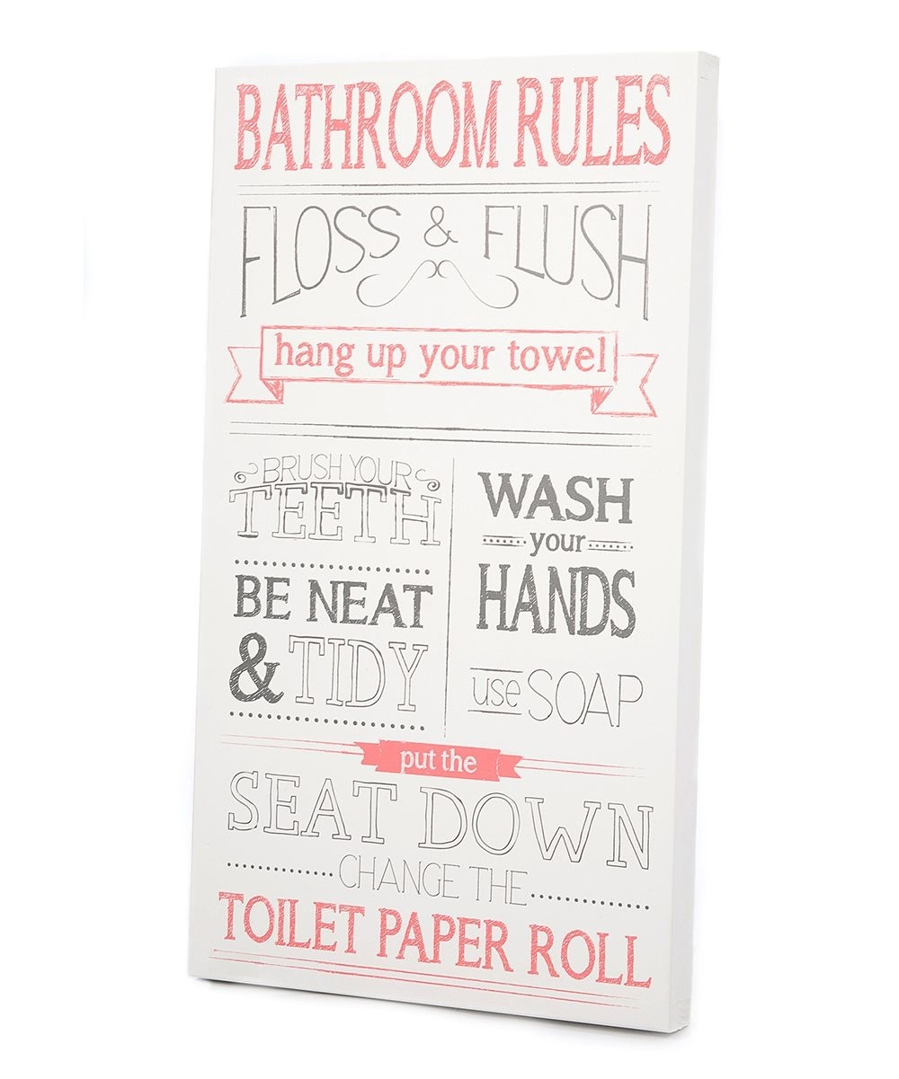 Pink & Gray 'bathroom Rules' Wall Art | Daily Deals For Moms, Babies Within Best And Newest Bathroom Rules Wall Art (View 13 of 20)