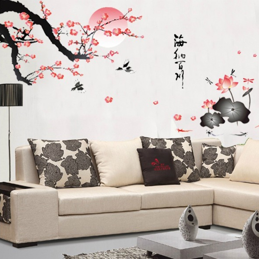 Plum Blossom Lotus Flowers Removable Wall Art Decals Vinyl Stickers With Recent Wall Art Decals (View 10 of 15)
