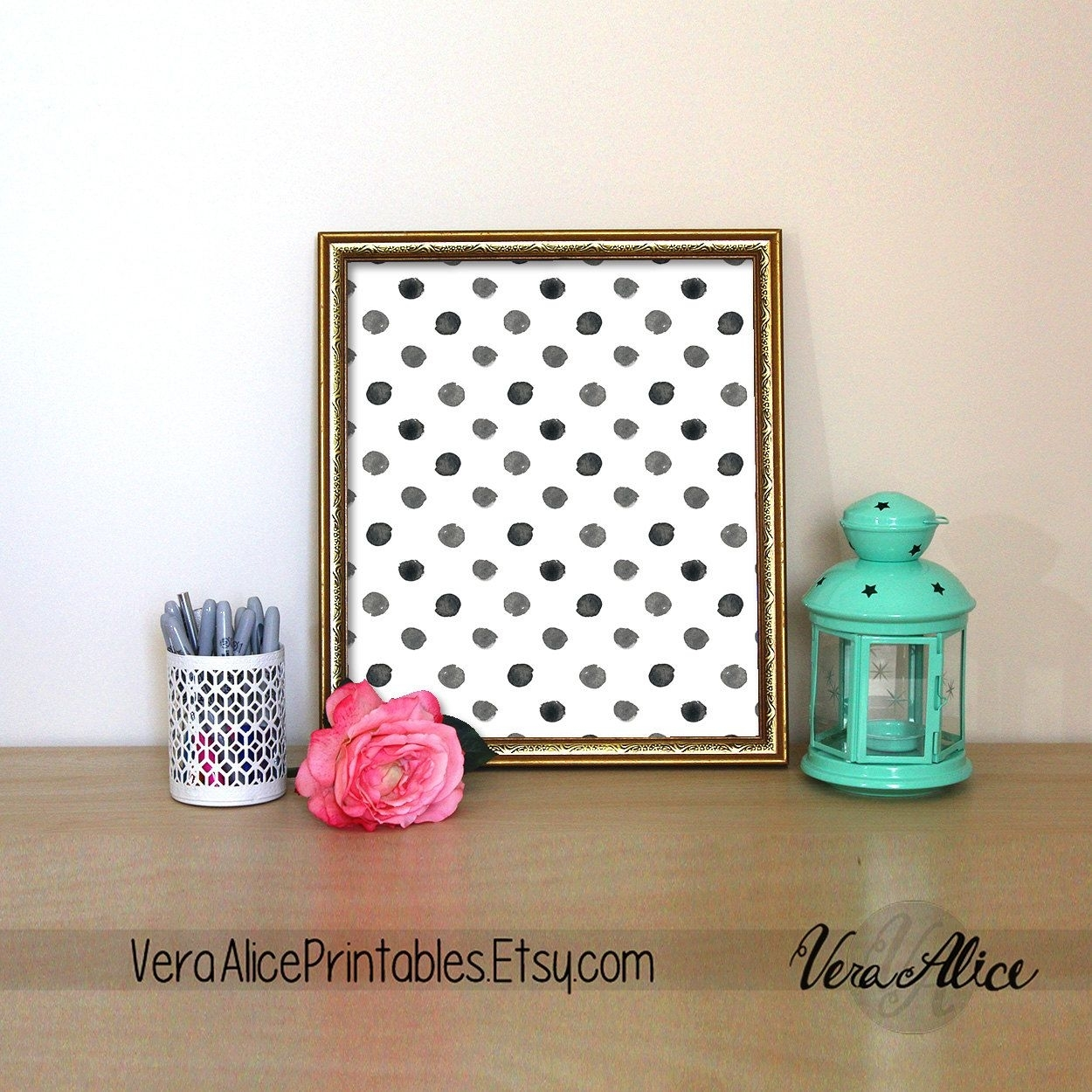 Polka Dot Print Kate Spade Quote Black And White Polka Dot Wall Art Pertaining To Recent Kate Spade Wall Art (View 12 of 20)