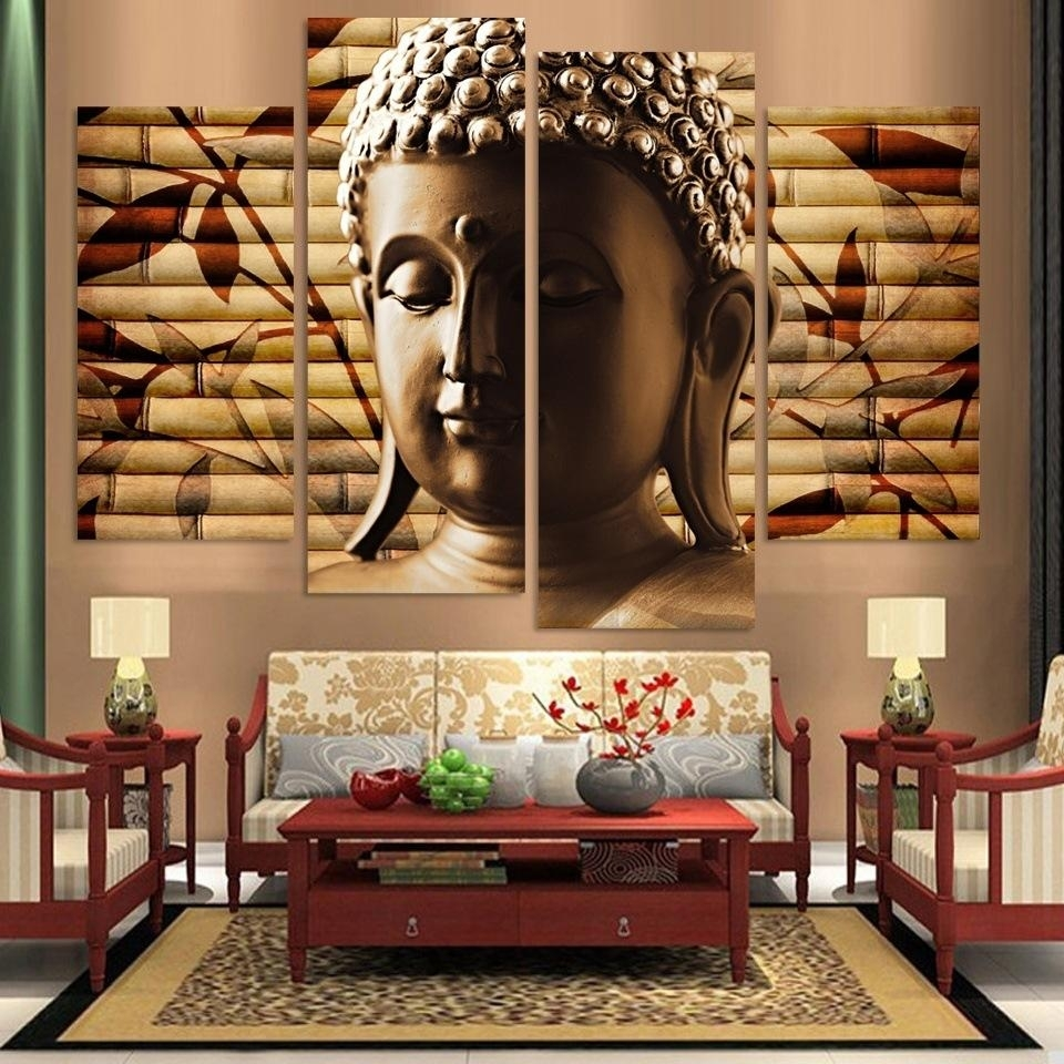 Popular Buddha Room Decor 4 Panel Canvas Painting Statue Abstract In 2017 Popular Wall Art (View 9 of 20)