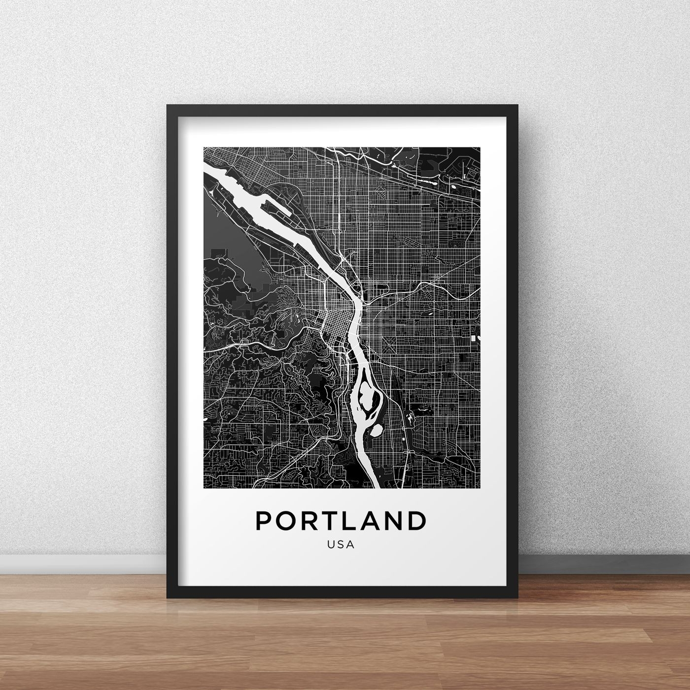 Portland Map Print Portland Map Download City Map Portland Design Of Regarding 2017 Boston Wall Art (View 15 of 20)