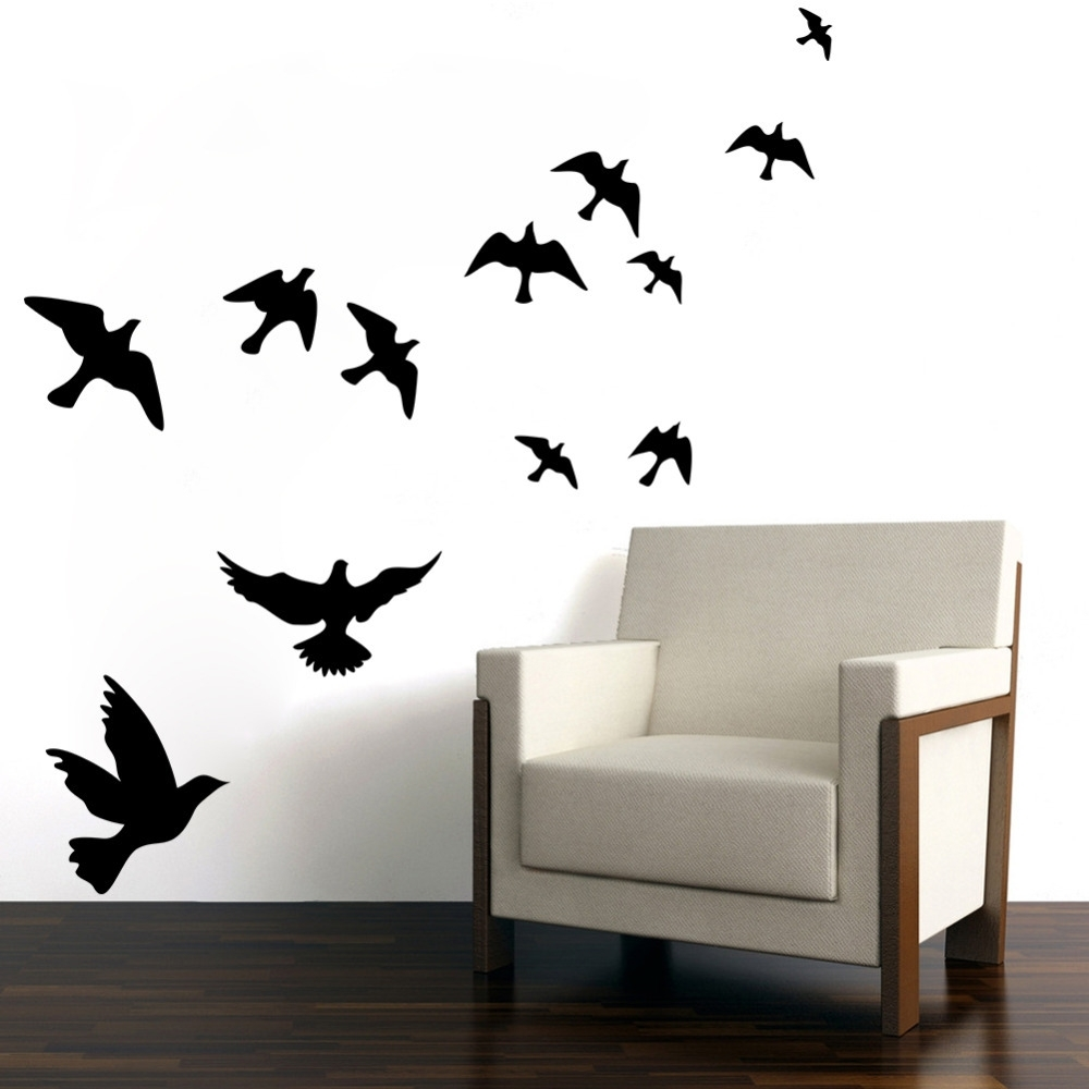 Pretty Geese Ducks Birds Flying Wall Art Vinyl Decoration Removable For Most Up To Date Bird Wall Art (View 9 of 15)