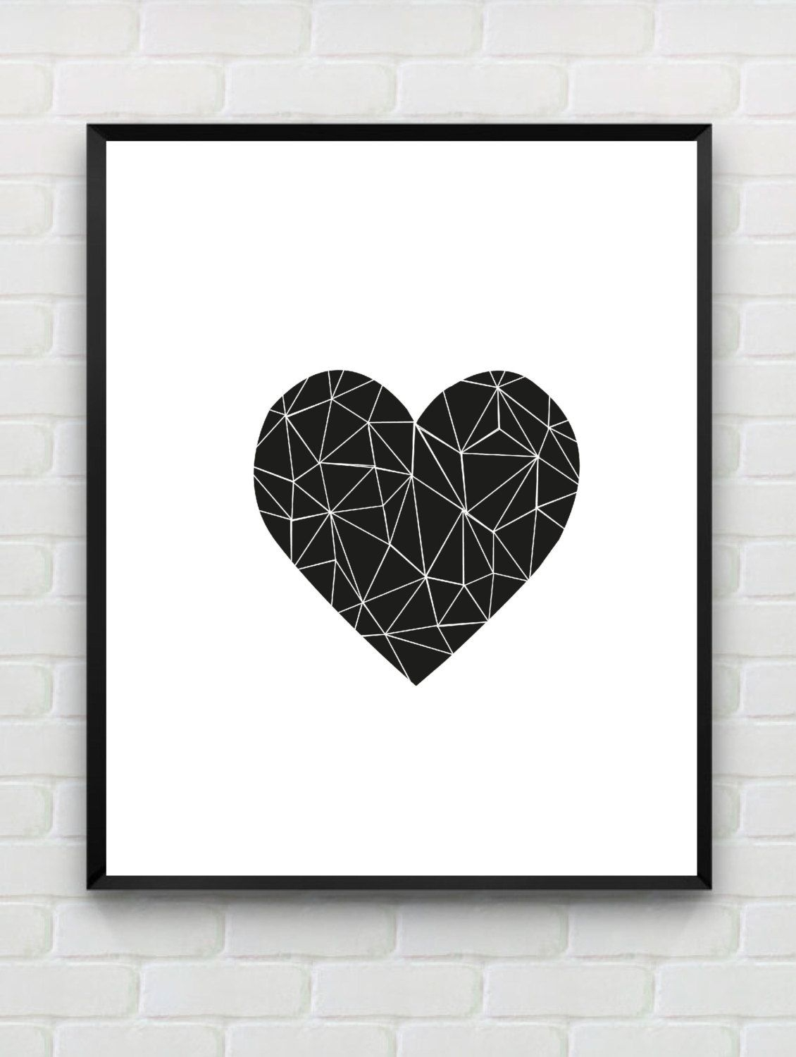 Printable Art Heart Print, Love Print, Polygon Wall Art, Geometric Within 2018 White Wall Art (View 17 of 20)