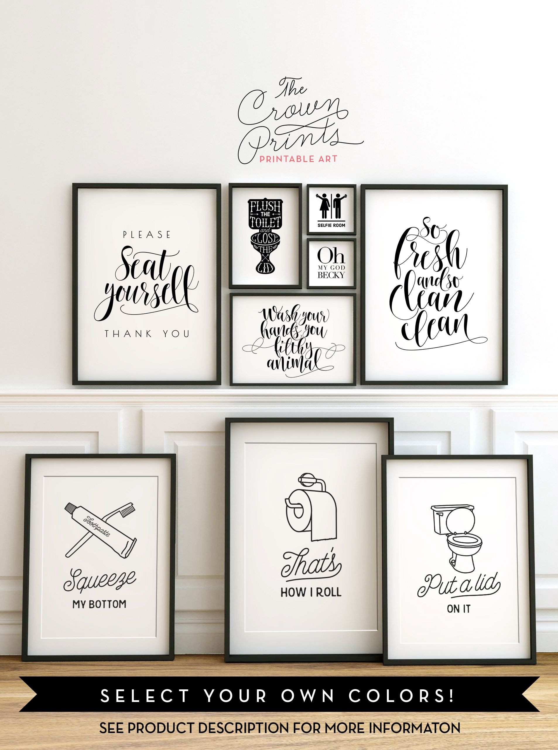 Printable Bathroom Wall Art From The Crown Prints On Etsy Lots Of pertaining to Most Popular Bathroom Rules Wall Art