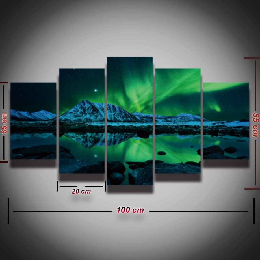 Printed The Aurora Borealis Landscape Picture Painting Spectacle 5 Intended For Most Up To Date 5 Piece Wall Art (View 17 of 20)