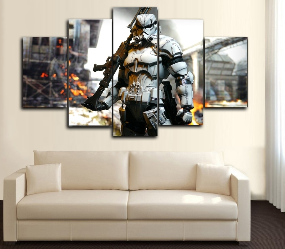 Prints 5 Pieces Wall Art Star Wars ,iron Man, Hunger Games,spider Inside 2017 Star Wars Wall Art (View 8 of 15)