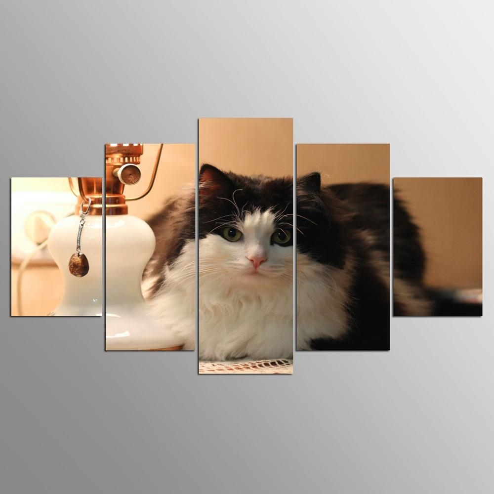 Promotion 5 Pieces Canvas Painting Cat Canvas Wall Art Print Inside Best And Newest Cat Canvas Wall Art (Gallery 12 of 20)