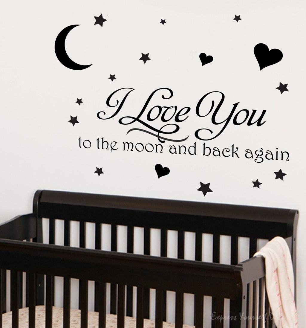 Propose Your Love With Love Based Wall Decals Pertaining To Most Up To Date I Love You To The Moon And Back Wall Art (View 2 of 20)