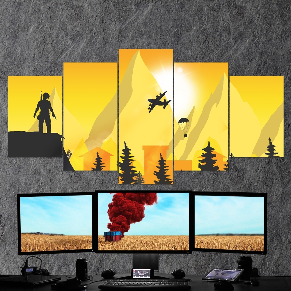 Pubg Playerunknown's Battlegrounds 26 – 5 Piece Canvas Wall Art Regarding Best And Newest 5 Piece Canvas Wall Art (View 5 of 20)