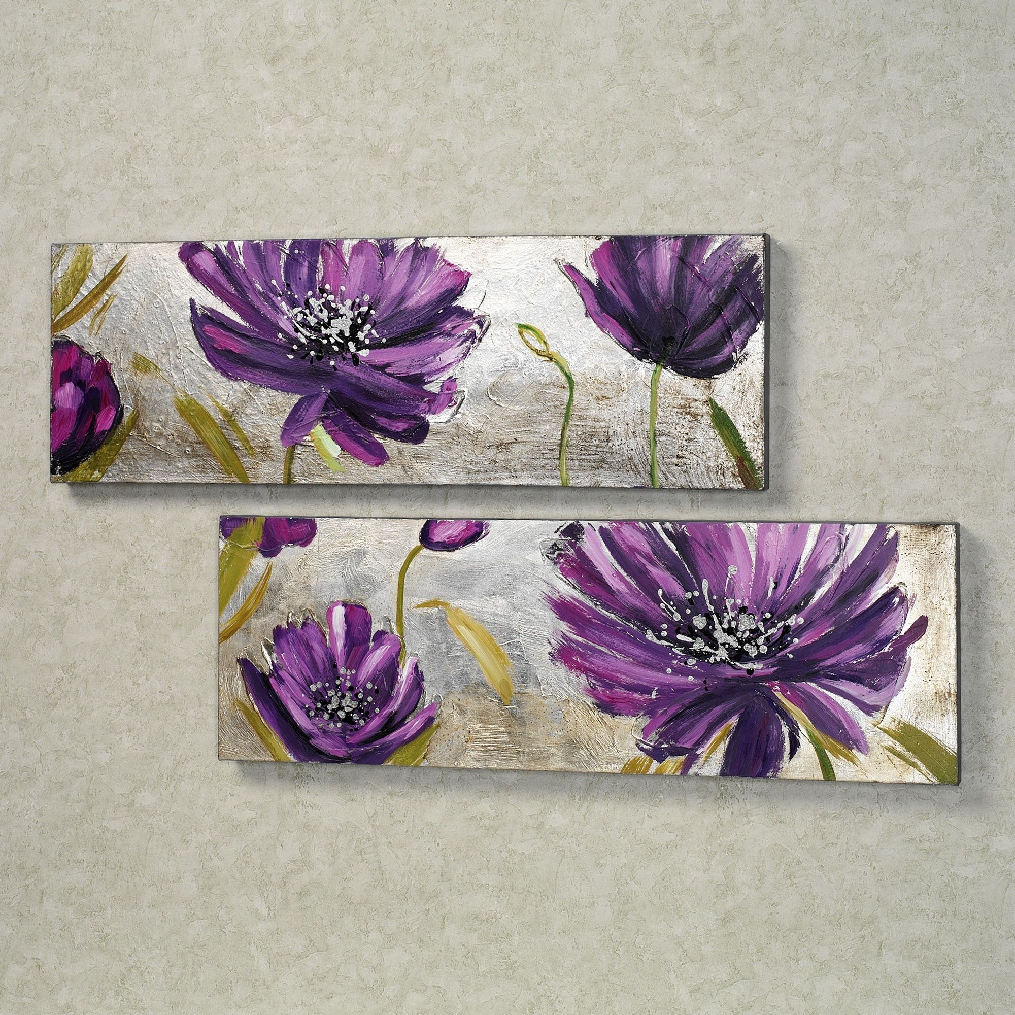 Purple Allure Floral Canvas Wall Art Set | Fun For Mommy | Pinterest Intended For Newest Purple And Grey Wall Art (View 14 of 20)