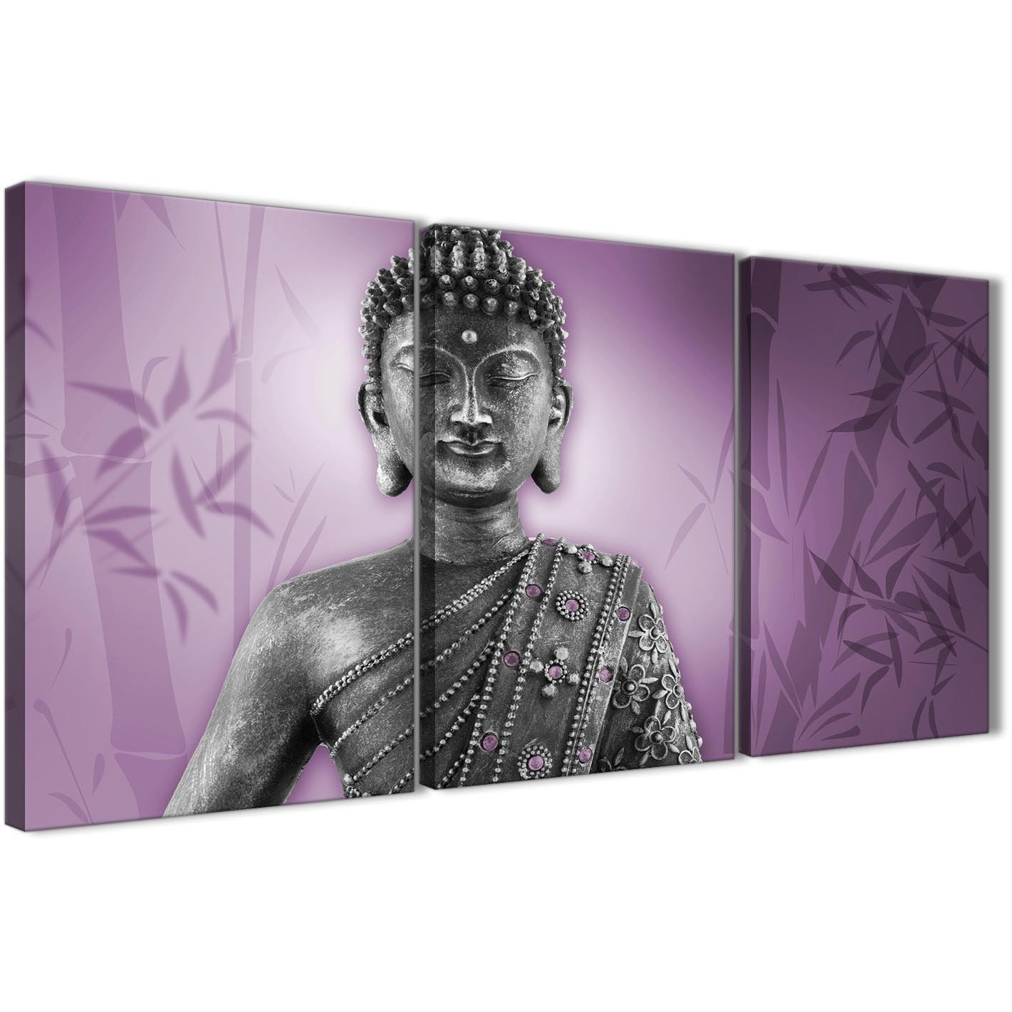 Purple And Grey Silver Canvas Art Prints Of Buddha – Multi Set Of 3 Pertaining To Most Recent Wall Art Prints (View 18 of 20)