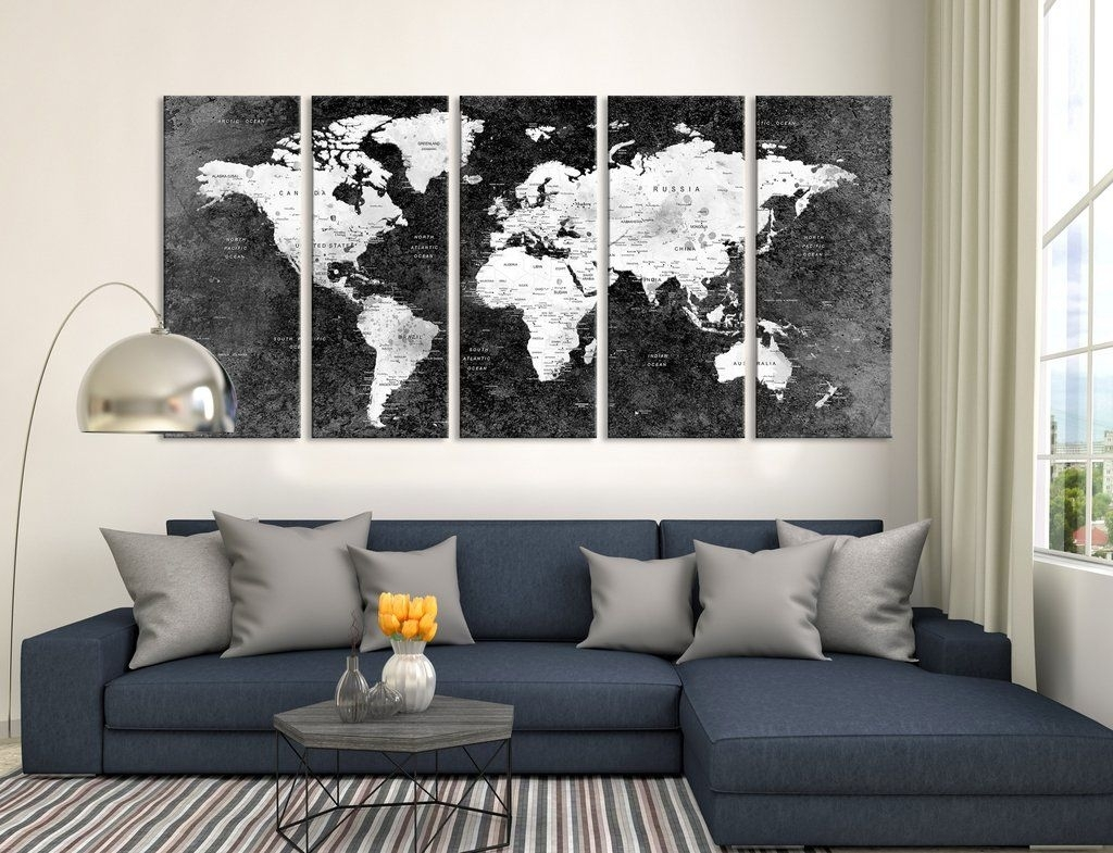 Push Pin Black World Map, Large Wall Art, Push Pin World Map, World Throughout Latest Extra Large Wall Art (Gallery 6 of 20)