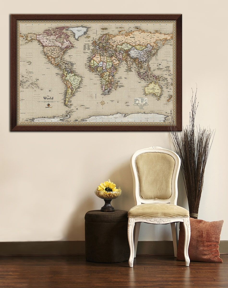 Push Pin Travel Map World Wall Art With Framed Maps Soloway (View 18 of 20)