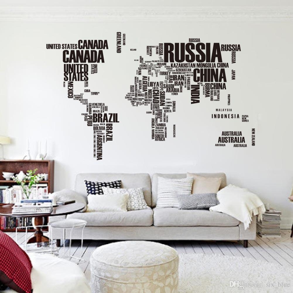 Pvc Poster Letter World Map Quote Removable Vinyl Art Decals Mural throughout Best and Newest Map Of The World Wall Art