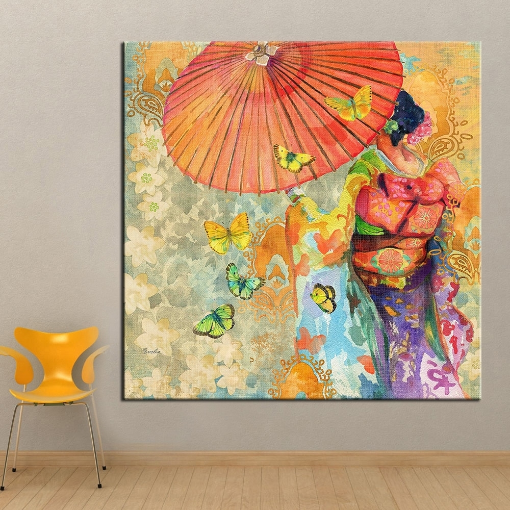 Qkart Wall Art Japanese Kimono Oil Painting On Canvas Wall Picture Pertaining To Newest Japanese Wall Art (View 16 of 20)
