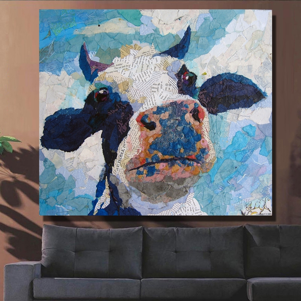 Qkart Wall Decor Artwork Painting Cow Head Oil Painting On Canvas Inside Recent Cow Canvas Wall Art (View 15 of 20)