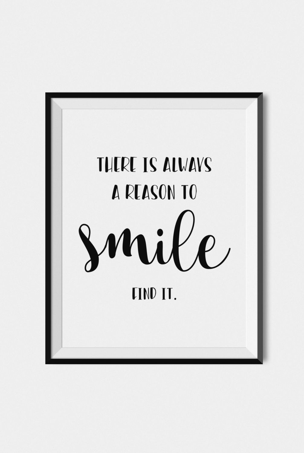 Quote Print Smile, Digital Download Art, Printable Wall Art, Black Regarding Most Current Wall Art Quotes (View 15 of 20)