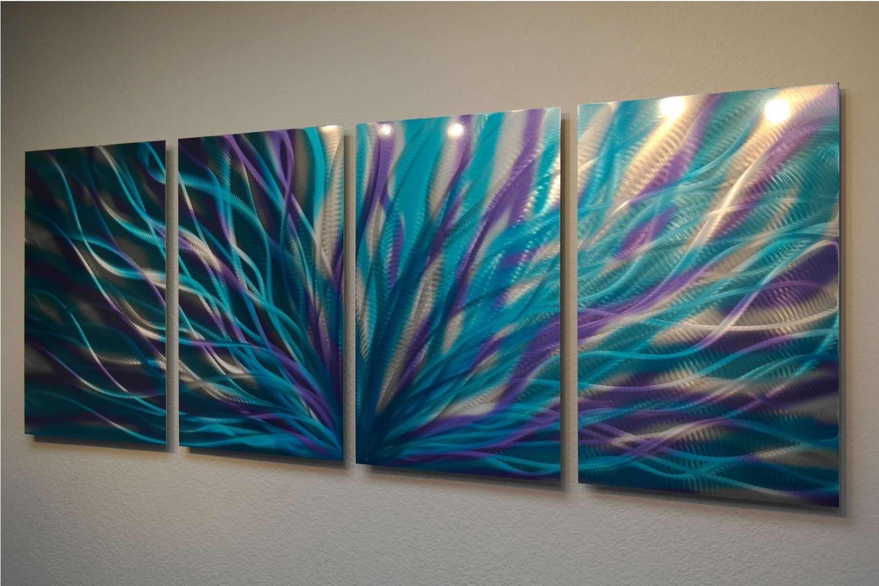 Radiance Blue Purple – Abstract Metal Wall Art Contemporary Modern Pertaining To Latest Teal Wall Art (View 11 of 15)