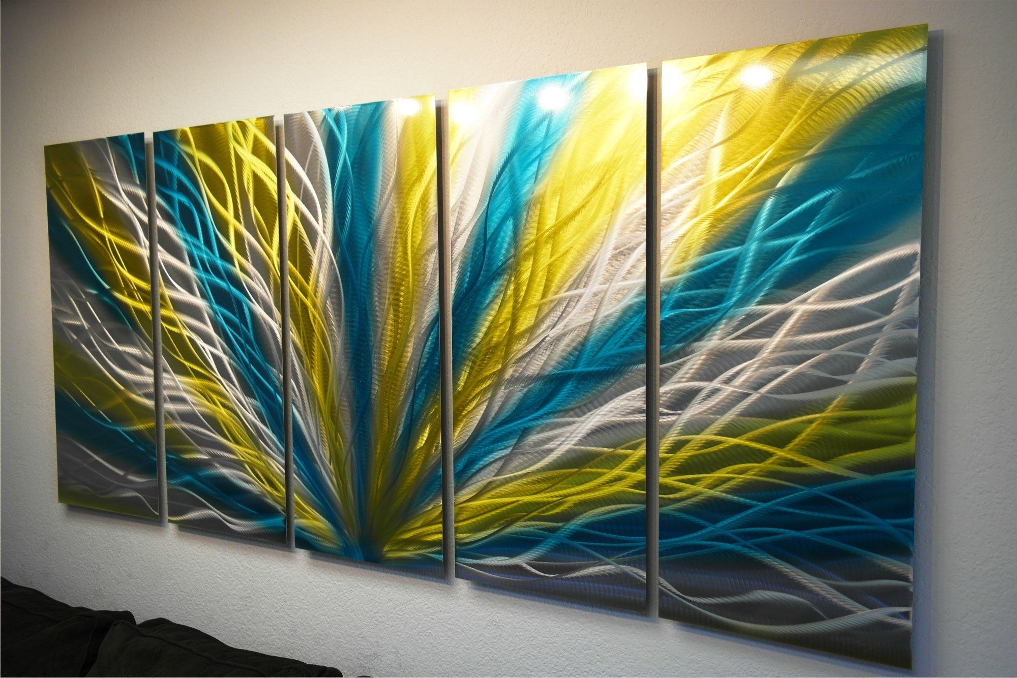 Radiance Blue Yellow 36X79 – Metal Wall Art Abstract Sculpture With Regard To Current Yellow Wall Art (View 13 of 20)