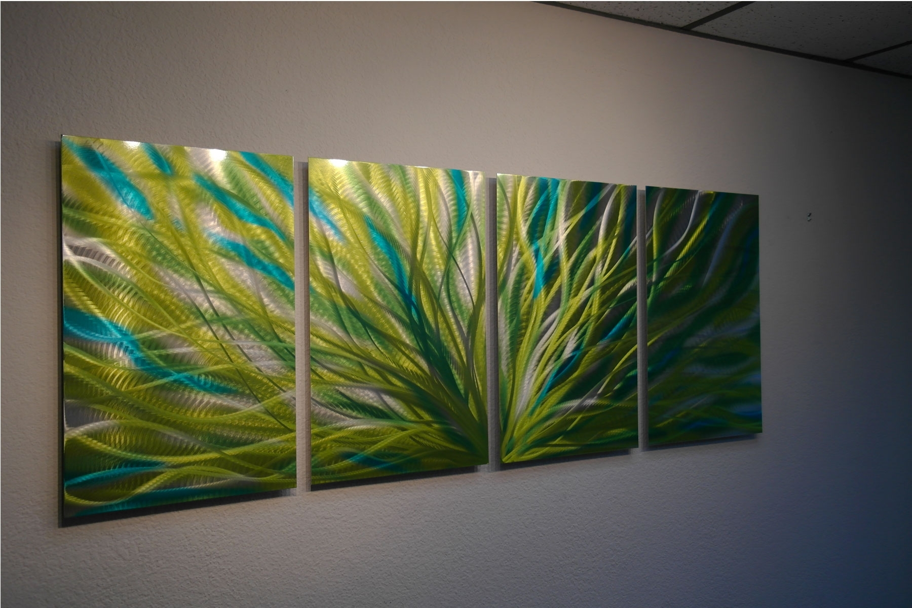 Radiance Cyan Chartreuse – Abstract Metal Wall Art Contemporary Throughout Latest Green Wall Art (View 19 of 20)