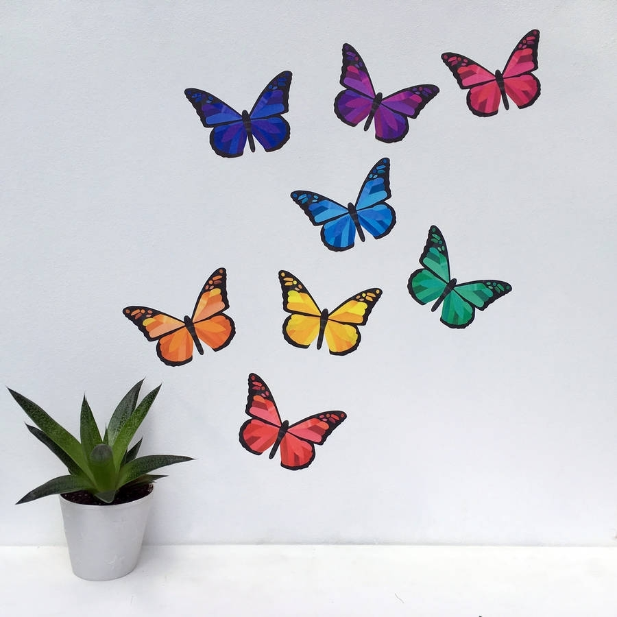 Rainbow Butterfly Wall Stickerschameleon Wall Art Within Best And Newest Butterfly Wall Art (View 5 of 15)