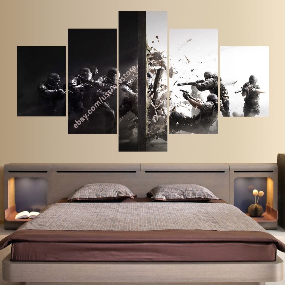 Rainbow Six 5 Piece Canvas Wall Art Print Home Decor Counter Strike Throughout Current 5 Piece Wall Art (View 18 of 20)