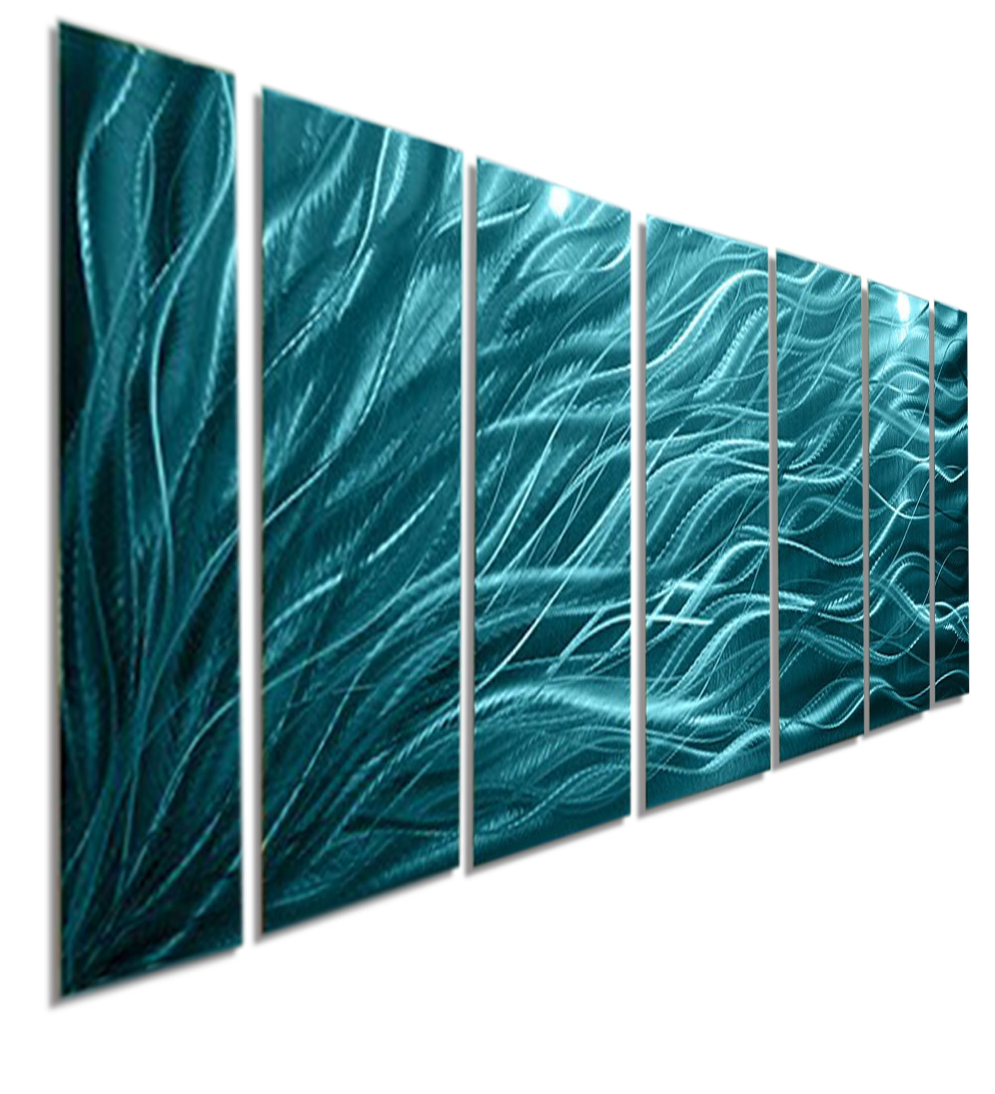 Rays Of Hope Aqua – Large Modern Abstract Metal Wall Artjon Regarding Most Current Teal Wall Art (View 12 of 15)
