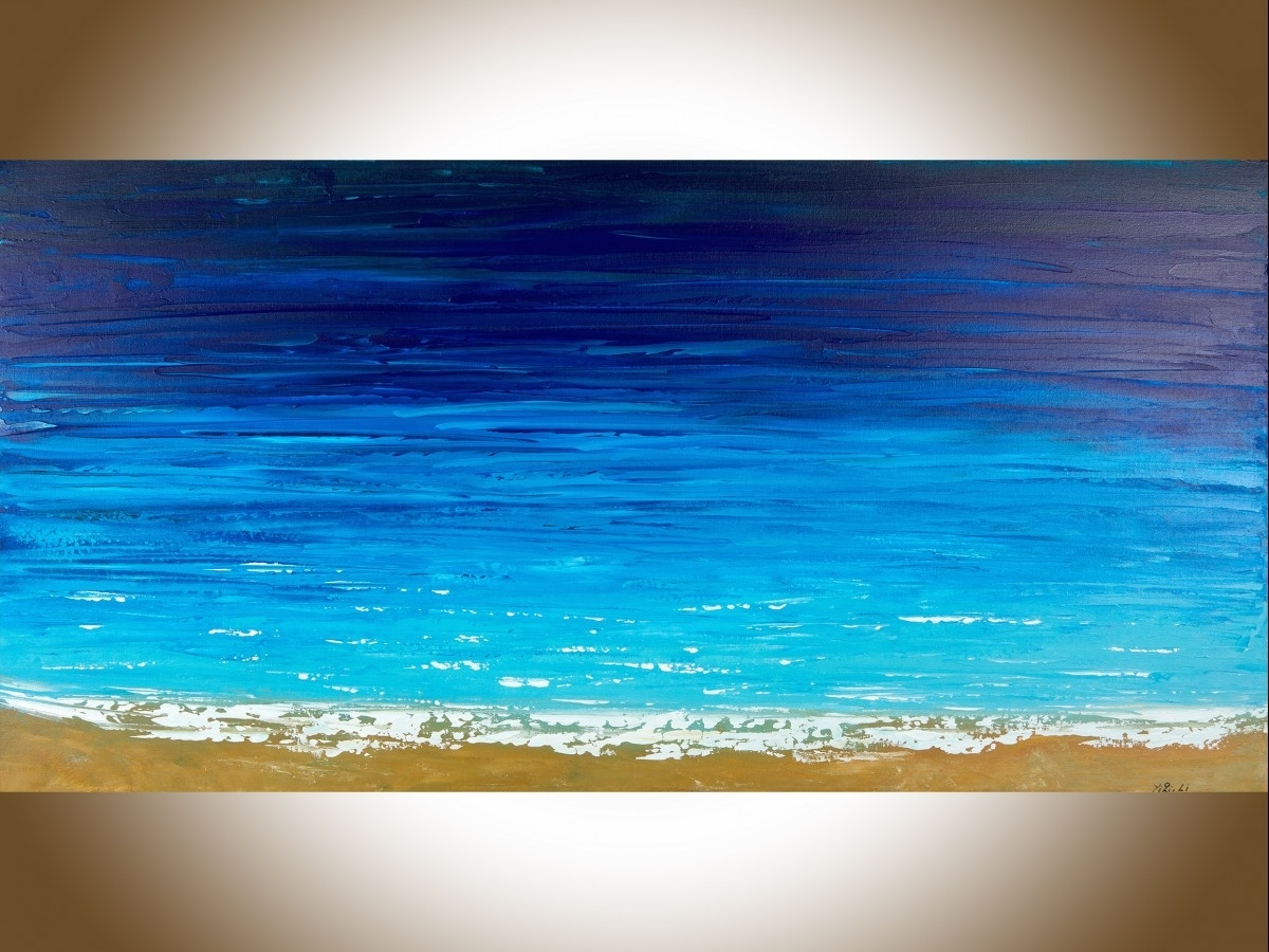 "Reach The Shoreqiqigallery 48"" X 24"" Ocean Weave Ocean Wall Art For Newest Ocean Wall Art (View 20 of 20)"