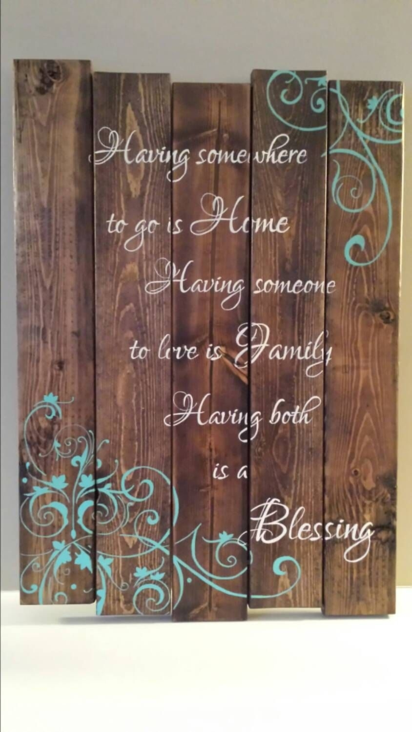 Reclaimed Wood Wall Art Family Quote Signtinhatdesigns | Pallets Intended For Most Current Wood Wall Art Quotes (View 11 of 20)