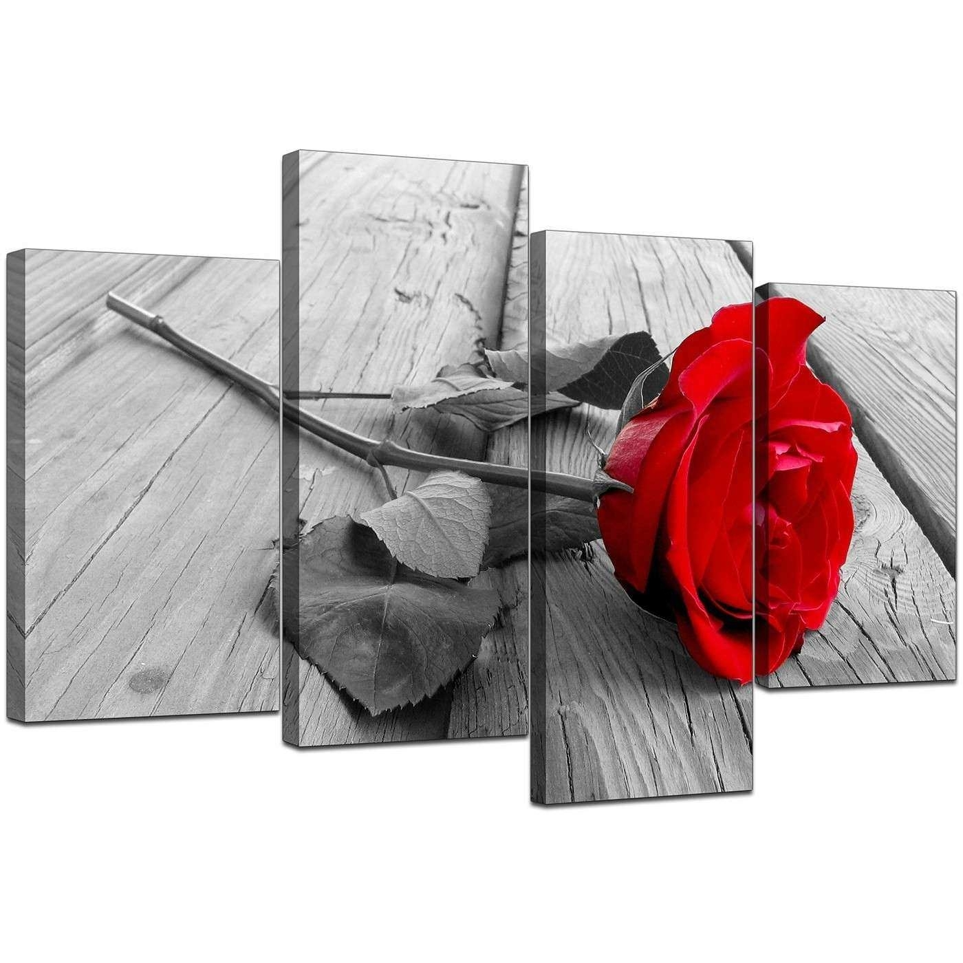 Red And Gray Wall Art Elegant Floral Canvas Wall Art In Red Black With Regard To Most Current Red And Black Canvas Wall Art (View 17 of 20)