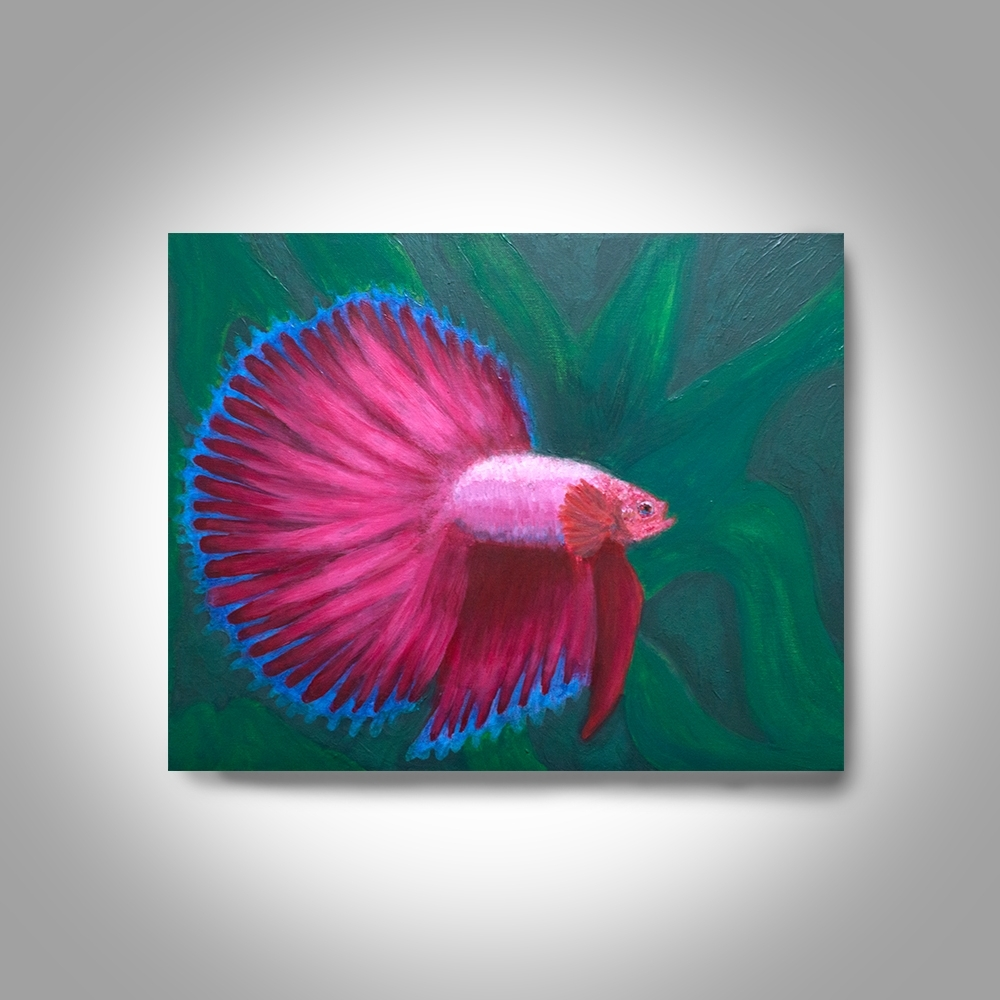 Red Betta Acrylic Fighting Fish – 20 X16 Canvas Painting, Wall Art With Most Popular Fish Painting Wall Art (Gallery 8 of 20)