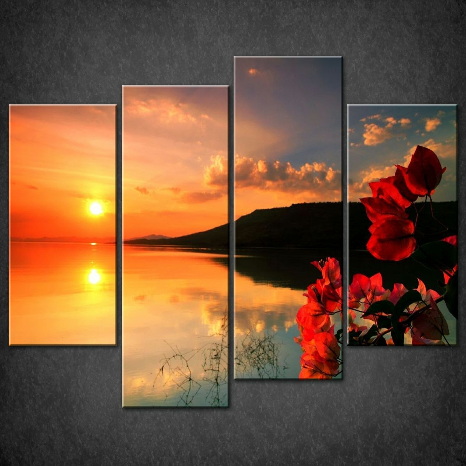 Red Calm Sunset Split Canvas Print Picture Wall Art Within Most Up To Date Wall Canvas Art (Gallery 9 of 15)