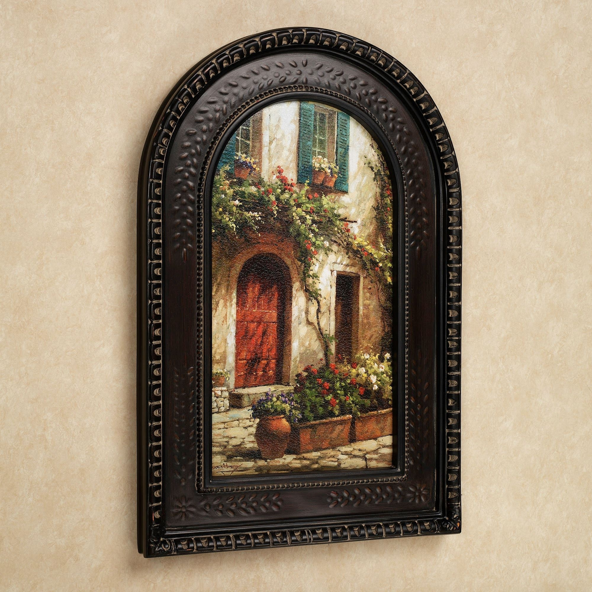 Red Door Italian Scene Arched Framed Wall Art, Tuscan Wall Art In Most Up To Date Tuscan Wall Art (Gallery 17 of 20)