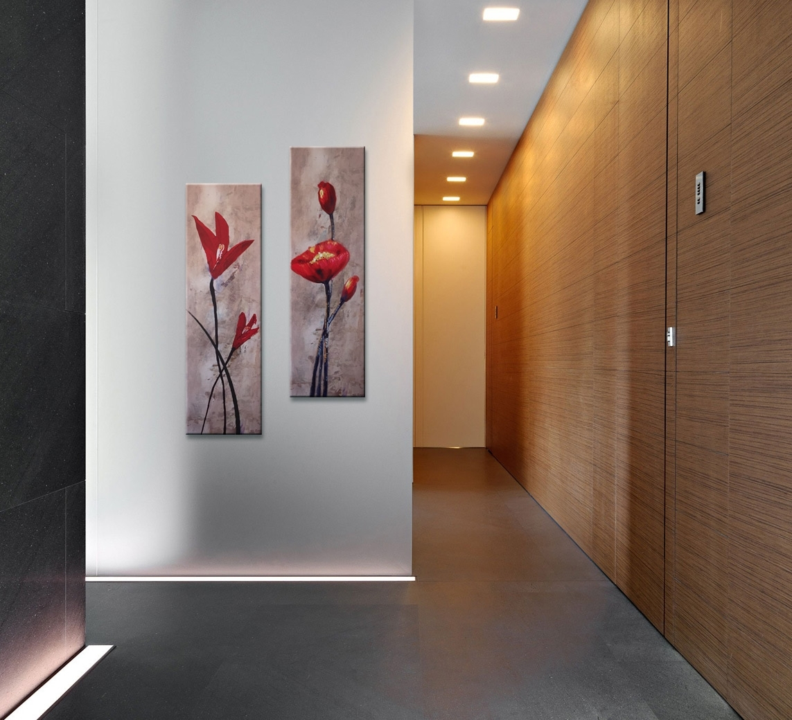 Red Flowers Composition Vertical Painting 2 Piece Wall Art Inside Recent Vertical Wall Art (Gallery 3 of 20)