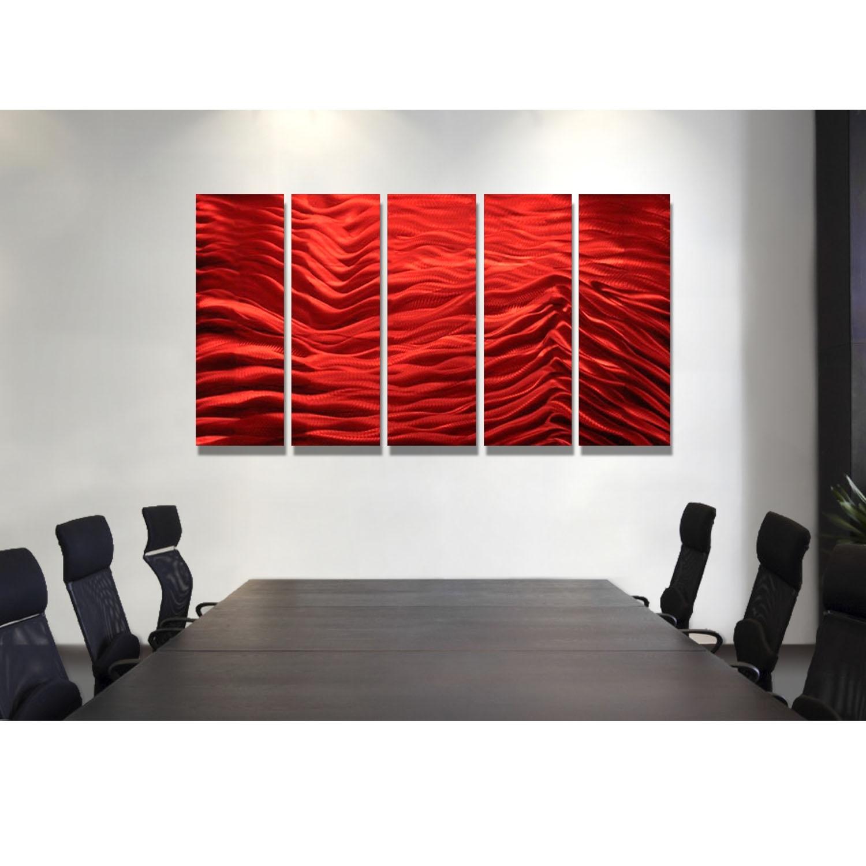 Red Inertia – Red Metal Wall Art – 5 Panel Wall Décorjon Allen Pertaining To Recent 5 Panel Wall Art (View 12 of 20)