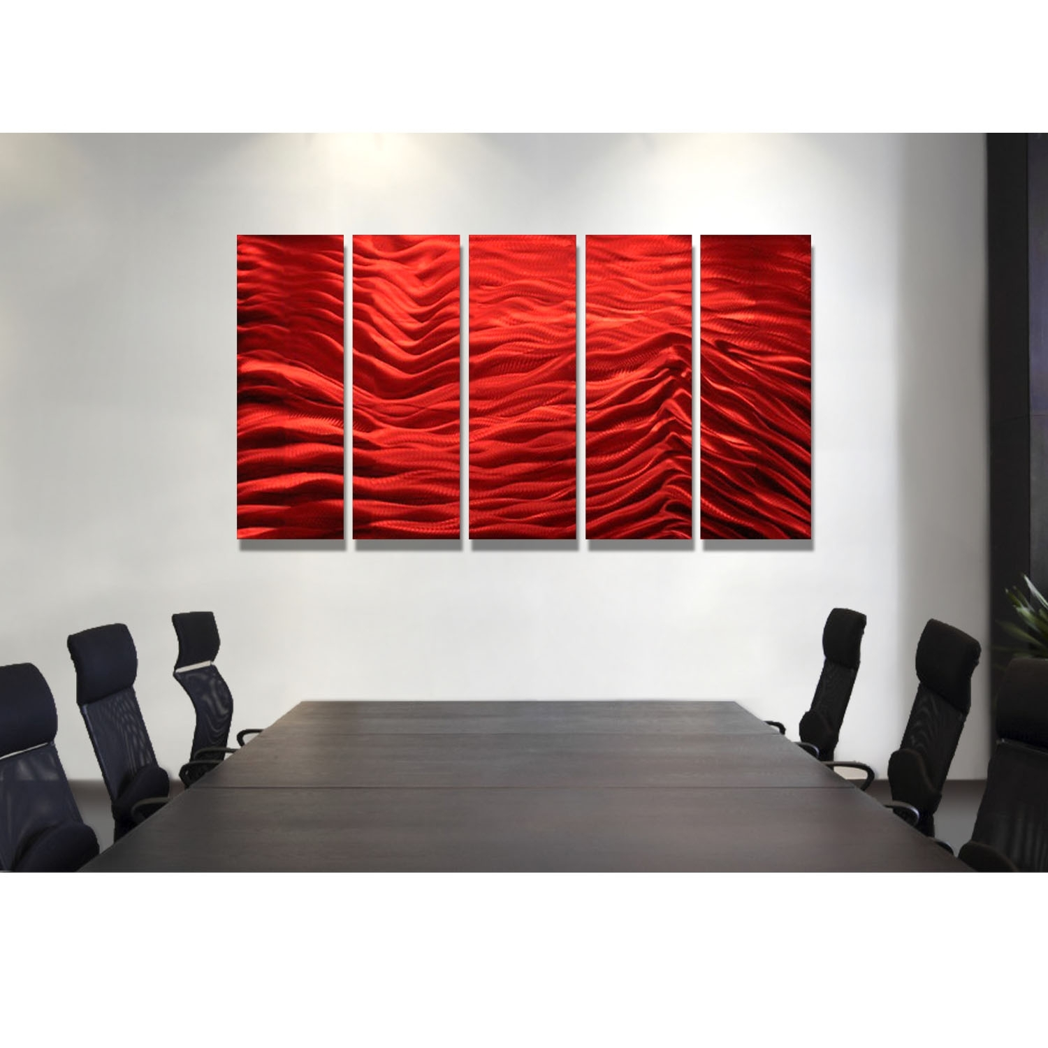 Red Inertia – Red Metal Wall Art – 5 Panel Wall Décorjon Allen Within Most Recent Panel Wall Art (View 5 of 20)