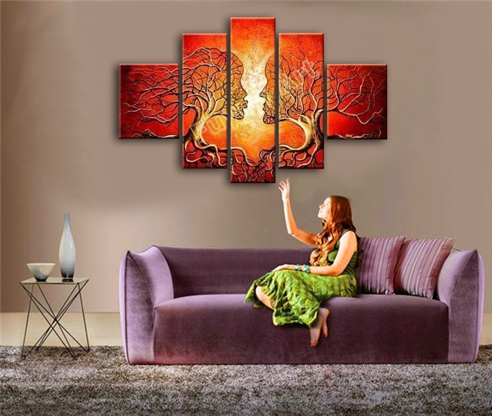 Red Painted Wall Art Canvas Decoration Abstract Tree Face Oil For Current Living Room Painting Wall Art (View 9 of 20)