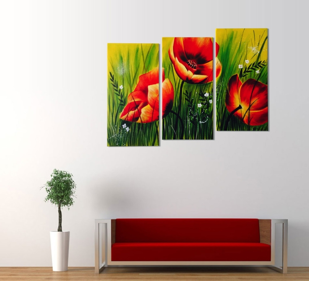 Red Poppies Floral Acrylic Painting 3 Piece Wall Art Pertaining To Recent Acrylic Wall Art (Gallery 7 of 20)