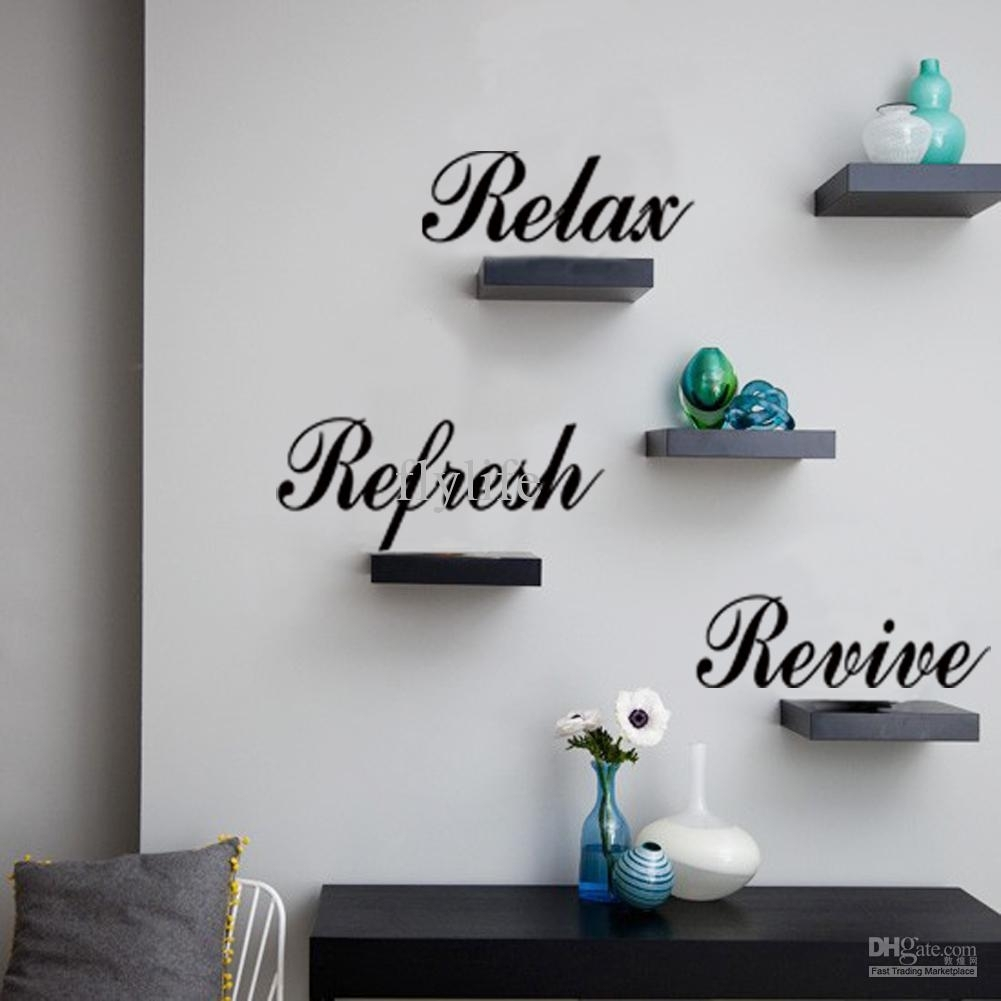 Relax Refresh Revive Art Lettering Wall Decals Diy Quotes Decor For Most Current Relax Wall Art (Gallery 5 of 20)