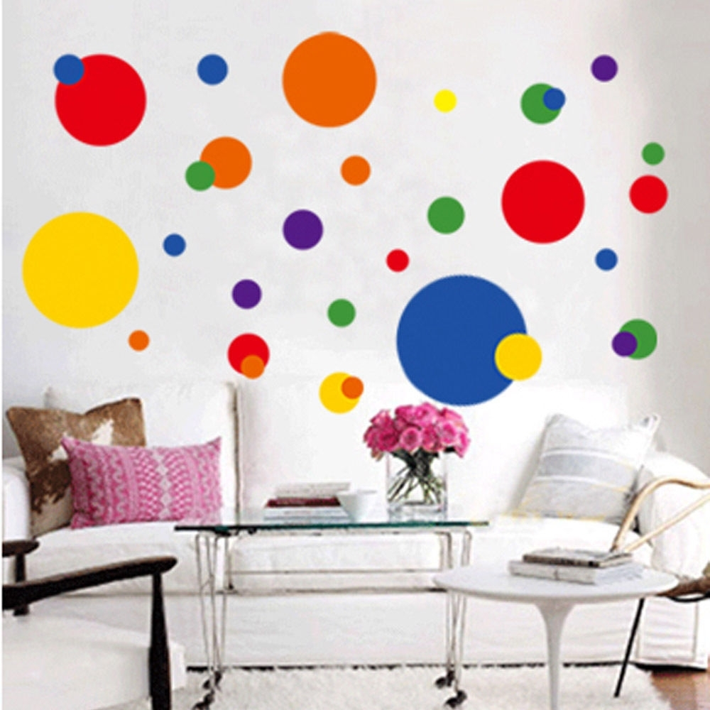 Removable Circle Polka Dots Wall Art Vinyl Sticker Decal Mural Inside Latest Circle Wall Art (View 16 of 20)