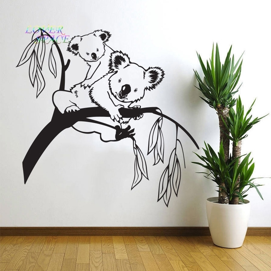 Removable Tree Branches Koala Bear Baby Nursery Room Wall Decal Art With Current Wall Sticker Art (View 10 of 15)